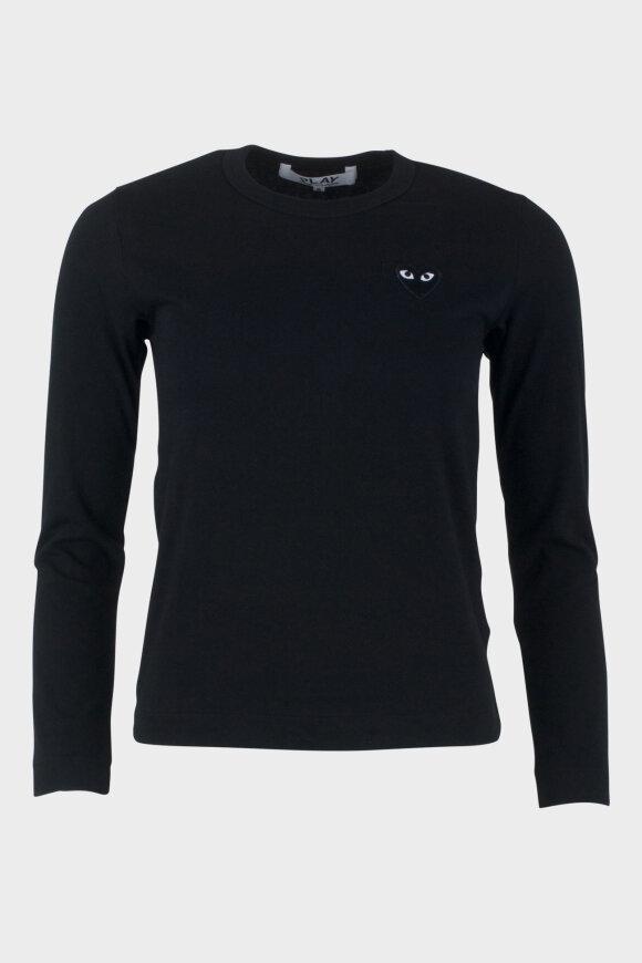 Comme des Garcons PLAY - W Black Heart LS T-shirt Black