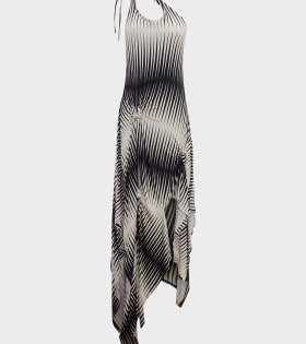 Asymmetric dress with florettes