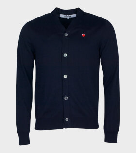 M Small Red Heart Cardigan Navy
