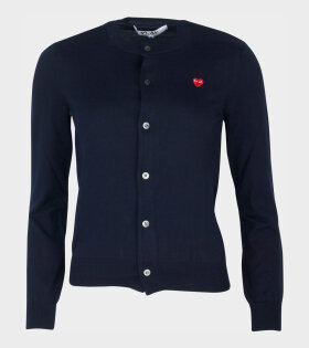 W Small Red Heart Cardigan Navy