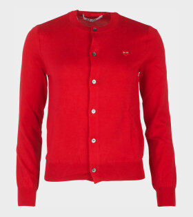 W Red Small Heart Cardigan Red