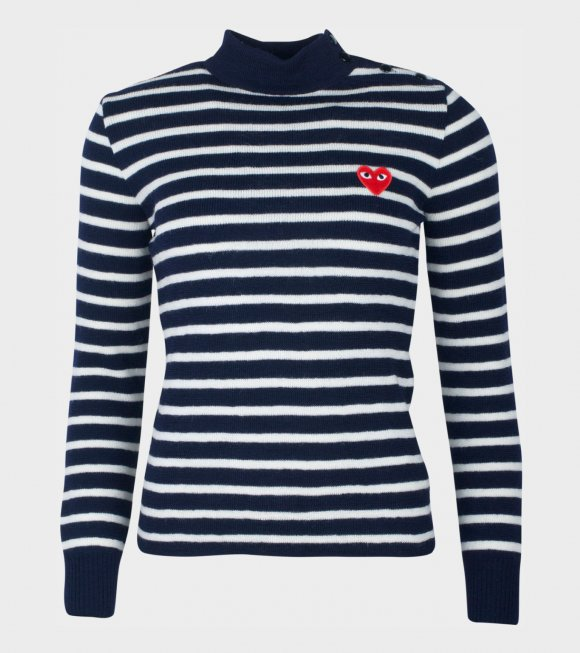 Comme des Garcons PLAY - W Red Heart Striped Knit Navy