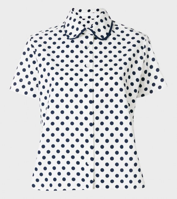 Peter Jensen - Gather Dot Shirt Polka White/Navy
