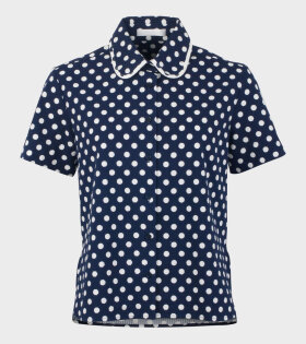 Gather Dot Shirt Polka Navy/White