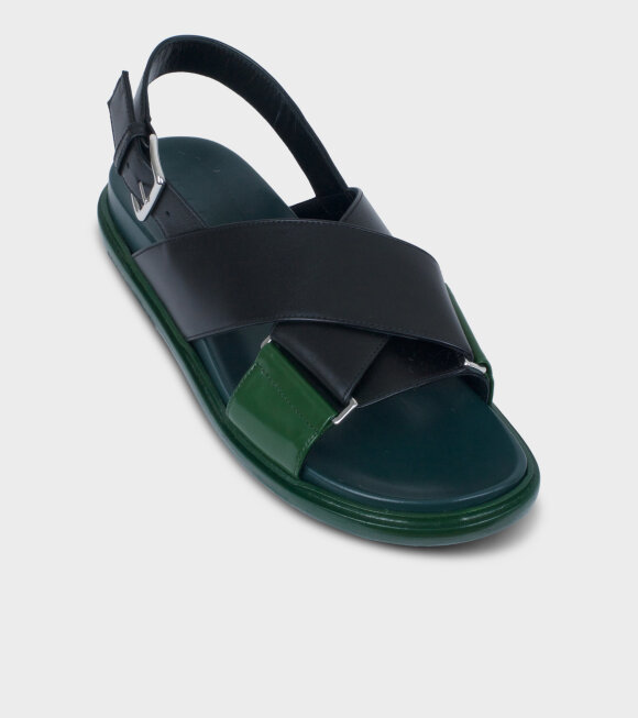 Marni - Fussbett Sandal Black/Green