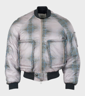 Padded Bomber Jacket Check Print