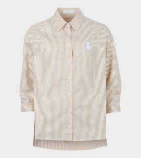 Drop Shoulder Shirt Yellow White