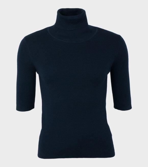 Merino Elbow Sleeve Top Navy