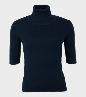 Merino Elbow Sleeve Top Navy