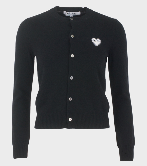 Comme des Garcons PLAY - W White Heart Cardigan Black