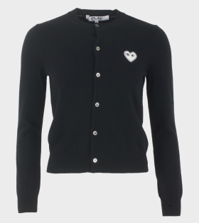 W White Heart Cardigan Black