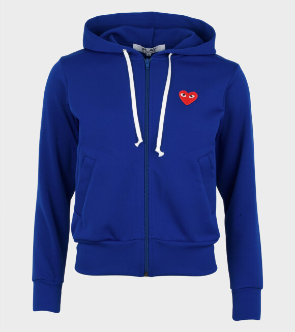 Comme des Garcons PLAY - W Red Heart Zip Hoodie Blue