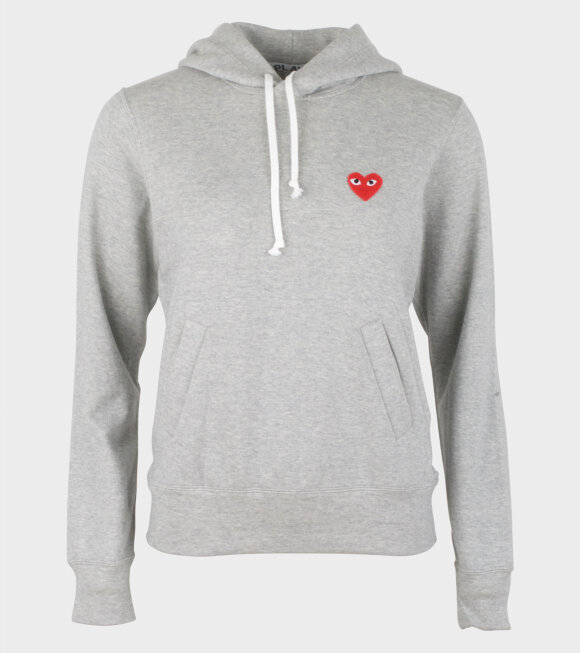 Comme des Garcons PLAY - W Red Heart Hoodie Grey