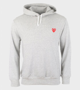 Comme des Garcons PLAY - M Red Heart Hoodie Grey