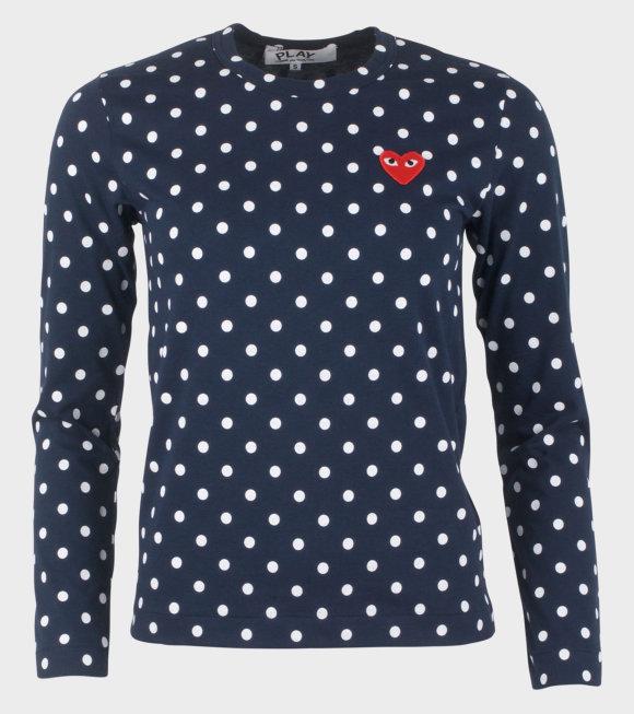 Comme des Garcons PLAY - W Dots LS T-shirt Navy