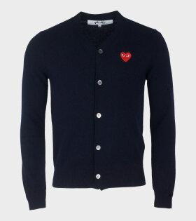 M Red Heart Cardigan Navy