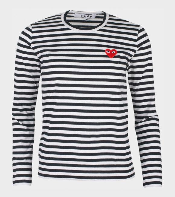 Comme des Garcons PLAY - W Striped LS T-shirt Black