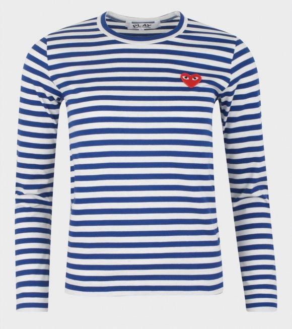 Comme des Garcons PLAY - W Striped LS T-shirt Blue