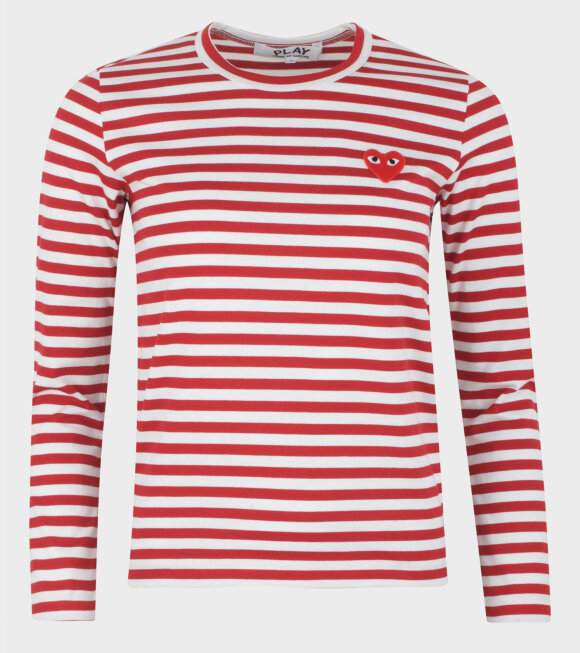 Comme des Garcons PLAY - W Striped LS T-shirt Red