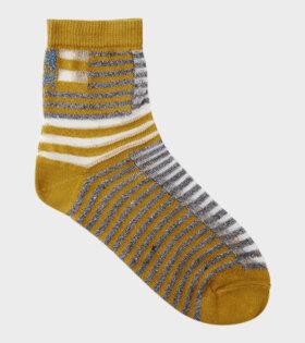 Walk The Line Striped Olive Socks