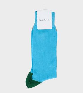 Men's Sock Plain Contrast Blue