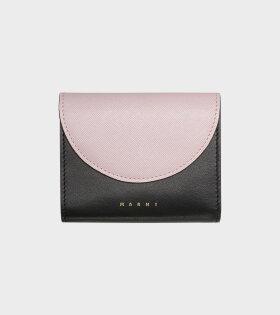 Saffiano Calfskin Wallet Black/Pink