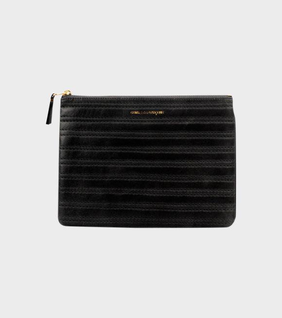 Comme des Garcons Wallet - Embossed Stitch Clutch Black