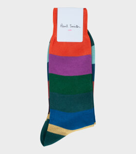 Men Sock Zeb Stripe Orange Multi