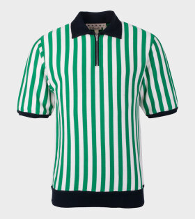 Marni - Striped Knit Polo Green/White