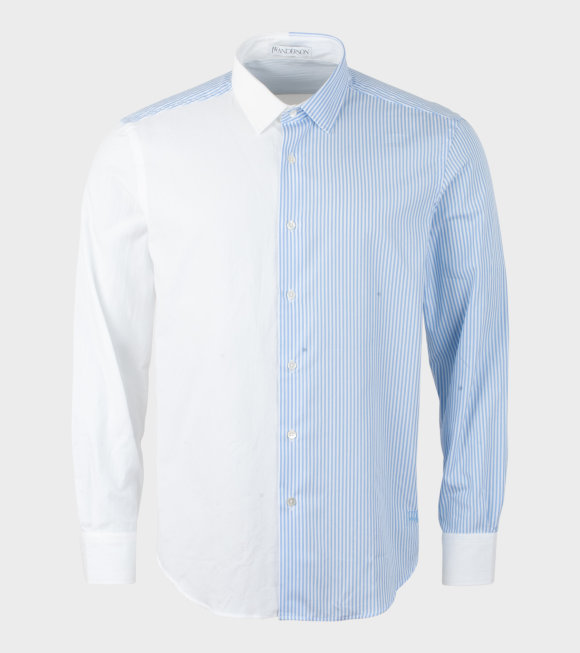JW Anderson - Pan Elled Striped and Oxford Shirt Blue