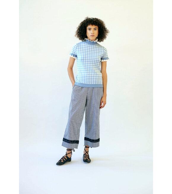 Shrimps - Mary Knit T-shirt Blue/Cream