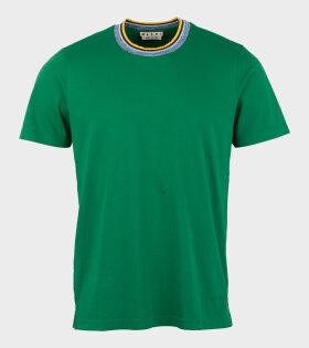 Marni - Cotton T-shirt W. Striped Collar Green