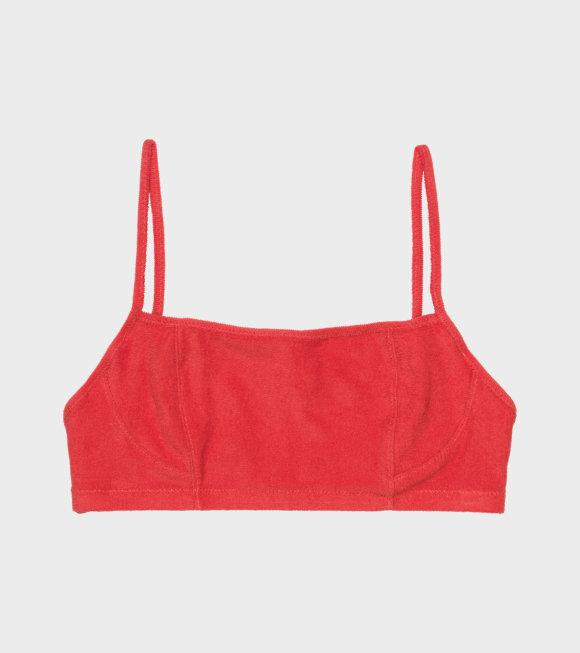 Ganni - Terrycloth Swimwear Bikini Top Red
