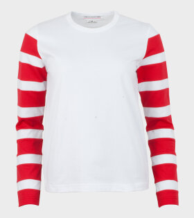 Striped Sleeves LS Tee White/Red