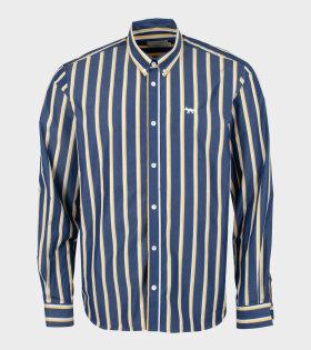 Maison Kitsuné - Stripes Classic Shirt Navy/Yellow/White