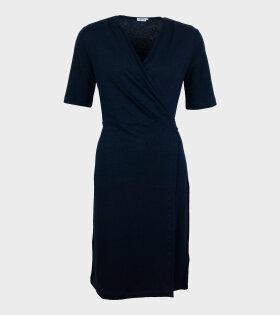 Linen Wrap Dress Navy