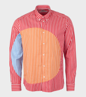 Patched Slim Fit Shirt Red