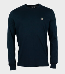 Mens Reg Fit LS T-shirt Zebra Navy