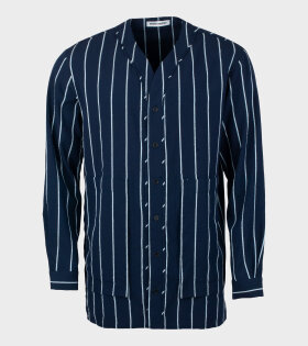Henrik Vibskov - Coast Kaftan Shirt Navy/Light Blue Stripes