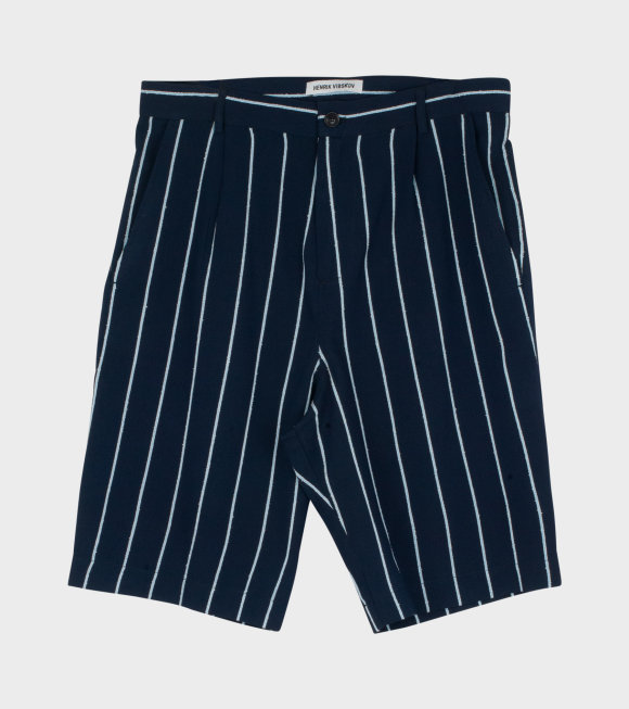 Henrik Vibskov - Participant Shorts Navy/Light Blue Stripes