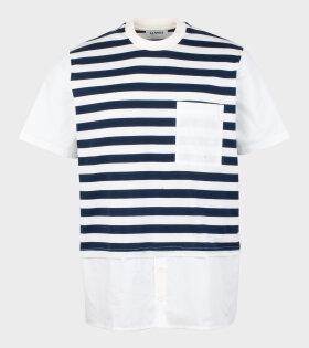 Sunnei Woven T-shirt W Popeline Navy/White - dr. Adams