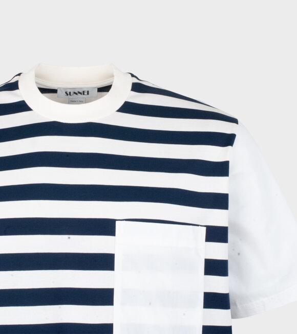 Sunnei - Woven T-shirt W Popeline Navy/White