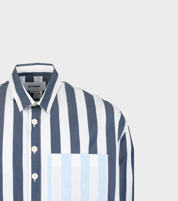 Sunnei - Woven Stripe Overshirt White/Blue
