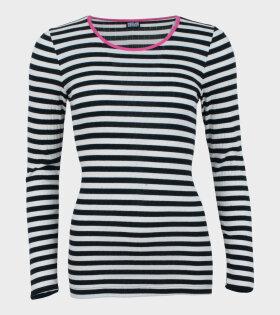 101 Rib Black/White Pink