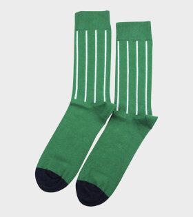 Democratique Socks - Originals Latitude Striped Green/White/Navy