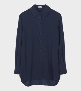Long Crepe Shirt Navy