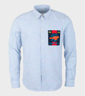 Mens Shirt Tailored Striped Light Blue