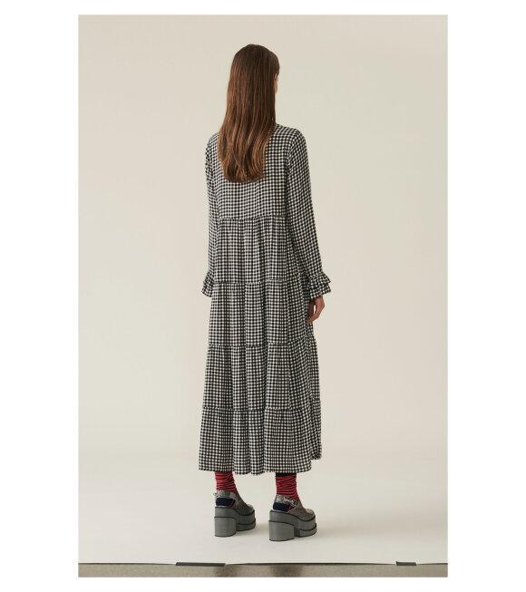 Ganni - Printed Crepe Dress Black