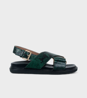 Marni - Fussbett Sandal Green Snake