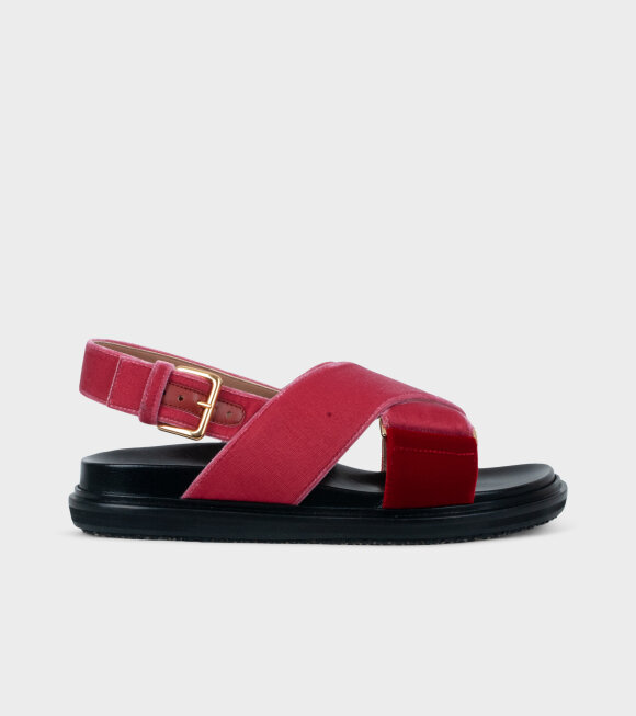 Marni - Fussbett Sandal Pink/Red Velvet